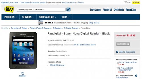 Pandigital SuperNova now Listed on BestBuy website e-Reading Hardware