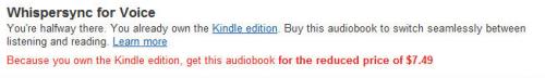 Amazon Now Promoting Whispersync for Voice on Audible's Website Amazon