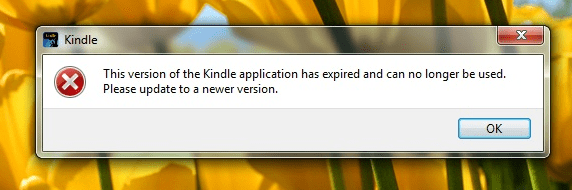 kindle for pc error message