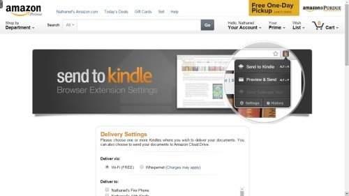 send to kindle browser plugin