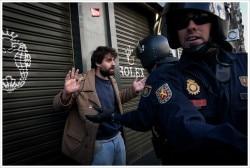 Piquete unitario en Grán Vía. Huelga General en Madrid.