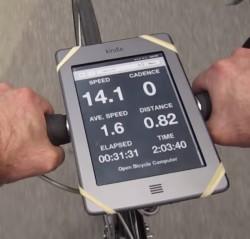 Kindle + Bike + RasPi Equals Bike Computer e-Reading Hardware