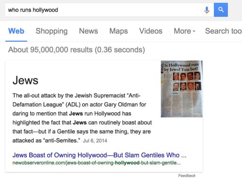 """Don't Ask Google """"Who Runs Hollywood"""" Google"""