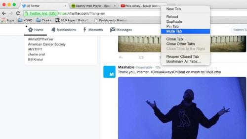 Google Chrome silience tab